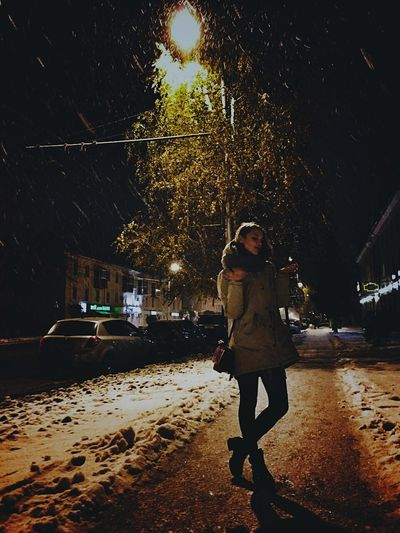 Winter Snow ❄ Adidas One Person Night People City Tree Snow One Woman Only Mode Of Transport Outdoors Adult GirlsNight Shake The World