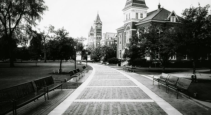 'Quite campus' Auburn University Samford Hall Auburn, Alabama College Campus Campus Grounds College Grounds Black And White Photography Benches_Of_The_World_Unite Android Photography Snapseed