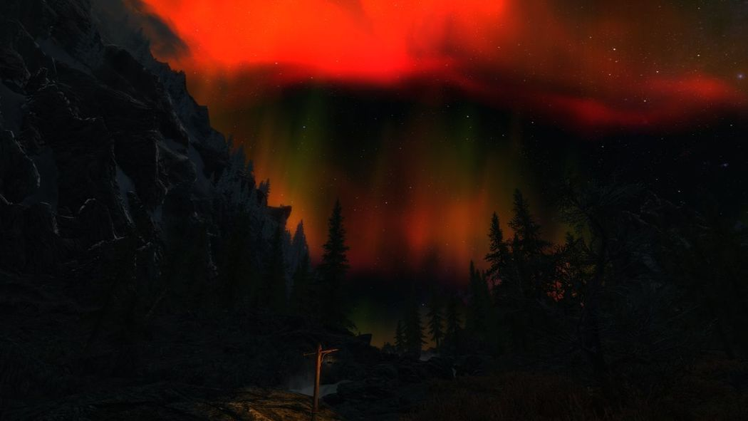 The Aurora never stops!! Night Red No People Nature Outdoors Star - Space Astronomy Multi Colored Beauty In Nature Sky Skyrim Gaming XboxOne Roleplay No Edit, No Filter, Just Photography Natural Phenomenon Illuminated Aurora Polaris Dramatic Sky EyeEmNewHere