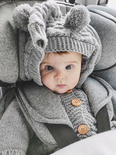 Portrait of cute baby girl in winter