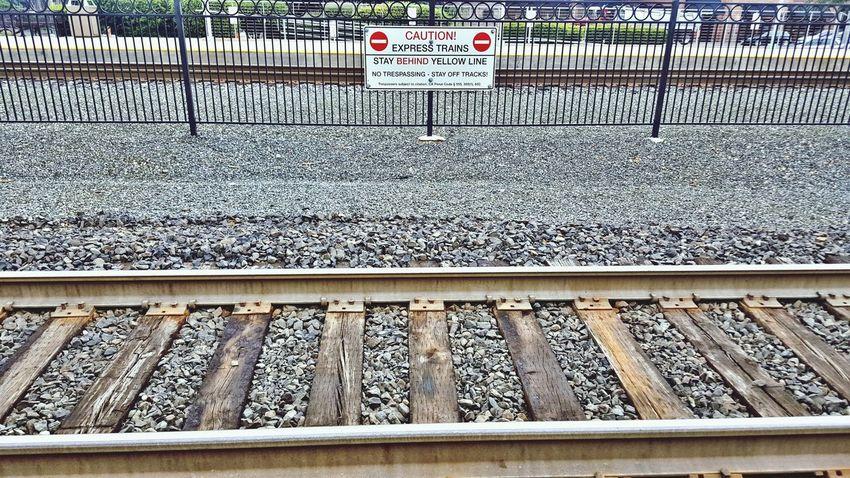 Railroad Track Transportation Rail Transportation Day Outdoors Railroad Tie No People Text Communication