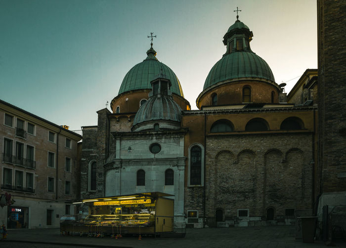 Square Architecture Bluehour Building Exterior Built Structure City Clear Sky Day Dome Foodtruck Italy No People Outdoors Place Of Worship Religion Sky Spirituality Street Streetfood Streetphotography Travel Destinations