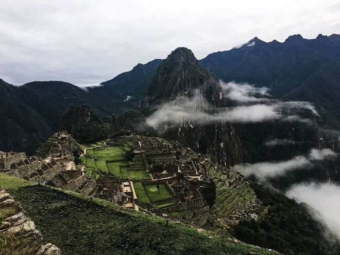 High angle view of old ruins at machu picchu against sky