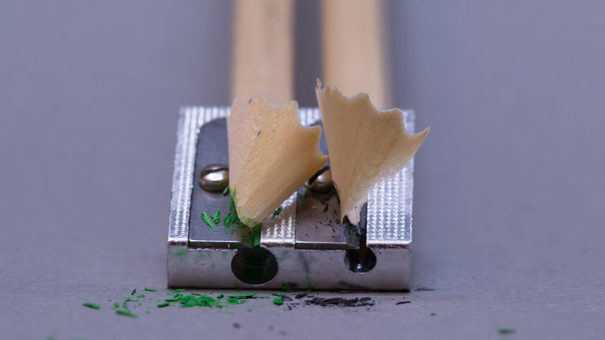Close-up Day Indoors  No People Pencil Improvement Pencil Shavings Pencil Sharpener Studio Shot Kreativität Kreativ Macro_collection Still Life Metal Table Indoors