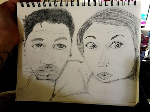 Guy and girl drawing Boy And Girl Graphite Art Portrait Of People Couple Goals Coupleselfie Notebook Art