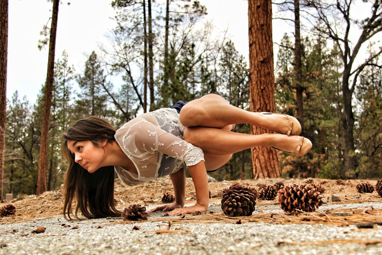 tree, one person, day, real people, outdoors, tree trunk, young adult, beautiful woman, one woman only, only women, adults only, young women, adult, people, sky