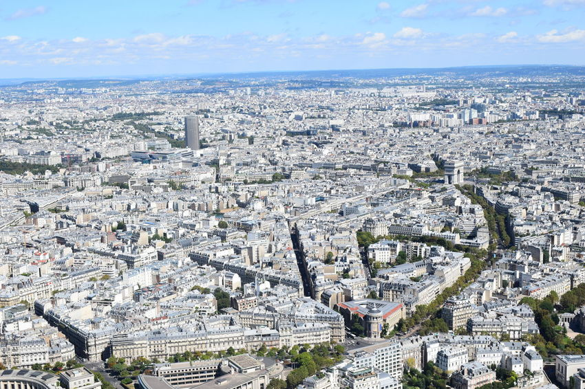 Paris from the Eiffel Tower Aerial View Ancient Civilization Architecture Building Building Exterior Built Structure City Cityscape Crowd Crowded Day High Angle View History Nature Outdoors Residential District Sky Tourism TOWNSCAPE Travel Travel Destinations Urban Sprawl