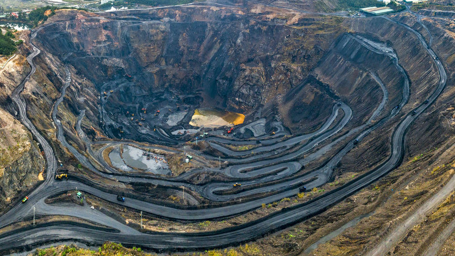 Coal Mine Environment Mining Aerial View High Angle View Mine Mountain Fuel And Power Generation Outdoors Road Environmental Issues Day Geology Landscape
