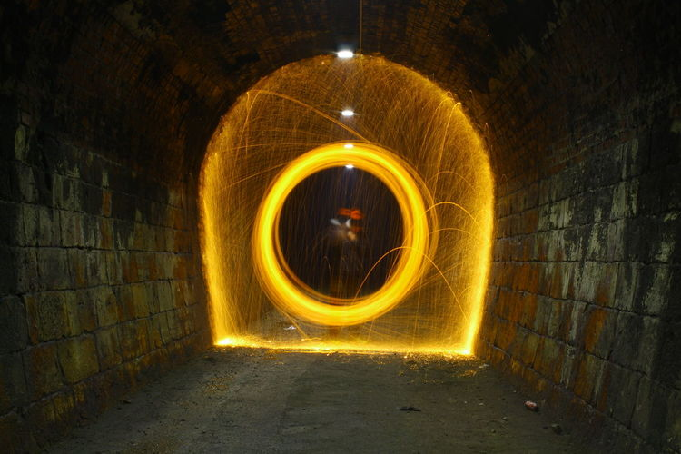 Blurred Motion Of Wire Wool In Tunnel At Night