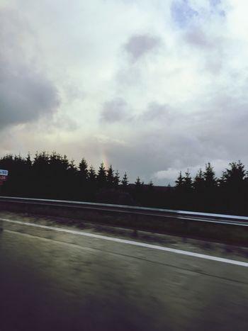 On The Road In The Car Rainbow🌈 Rainbow Sky Auf Dem Weg Nach Hause Im Auto Autobahn On The Highway Highway Sky Clouds Clouds And Sky Cloudy Iphonegraphy Hobbyphotography Hobbyfotograf