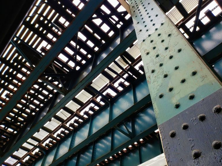 Low angle view. Elevated Track Pattern Full Frame Architecture Built Structure Close-up