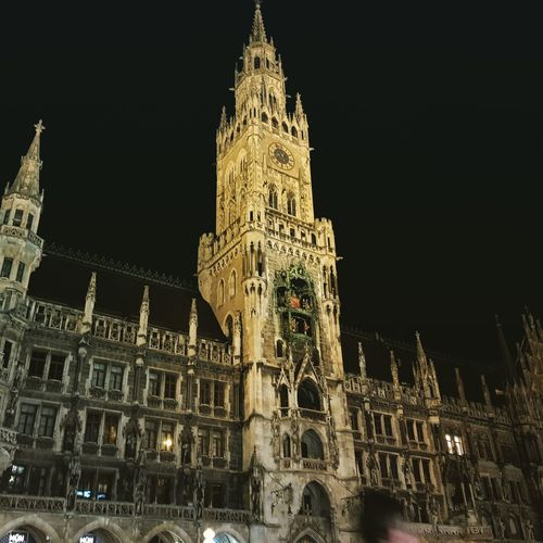 Marienplatz Clock Face City Clock Politics And Government Clock Tower Illuminated Ornate History Architecture Building Exterior Gothic Style