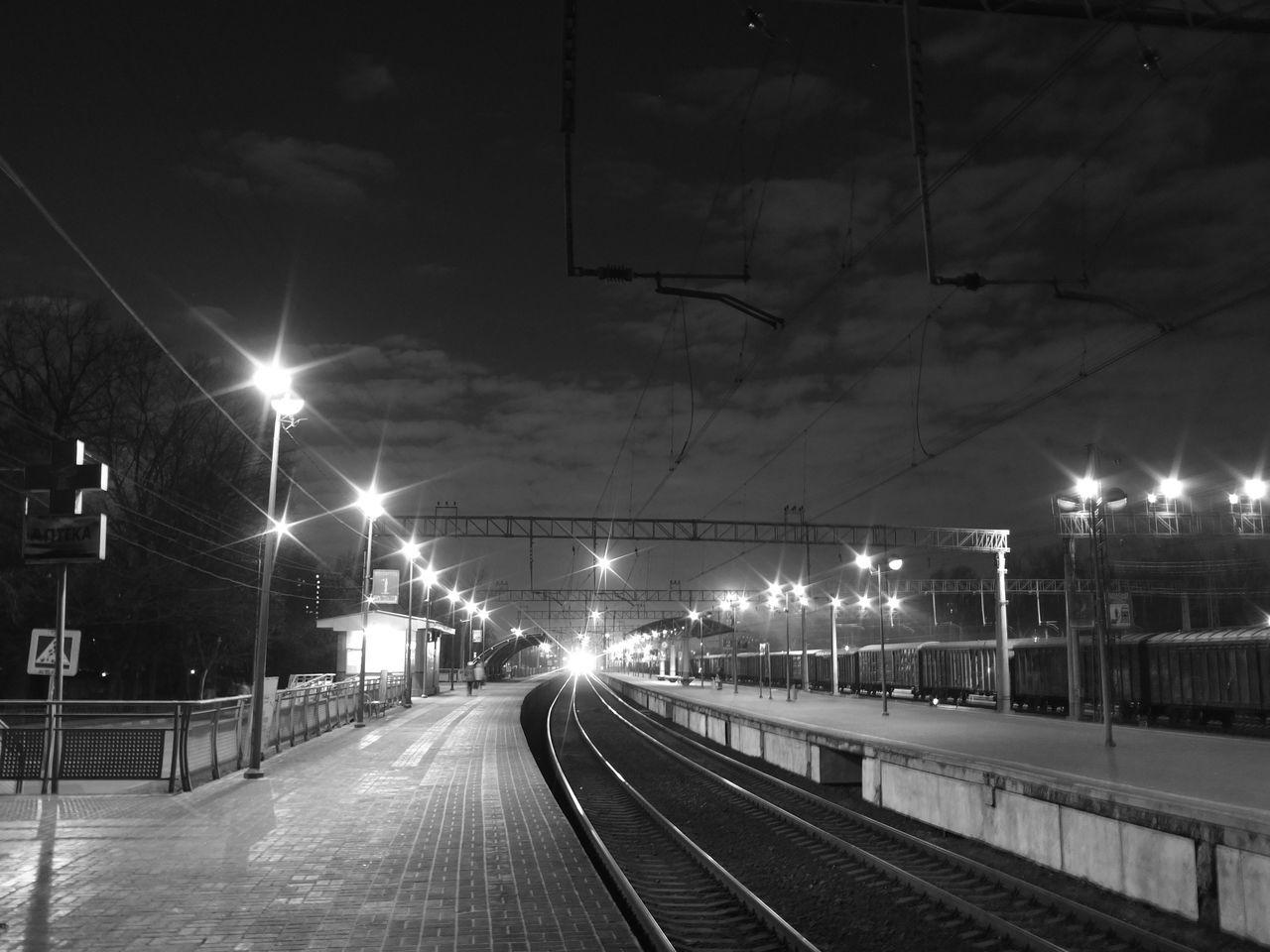 illuminated, night, transportation, railroad track, rail transportation, street light, sky, no people, electricity, outdoors