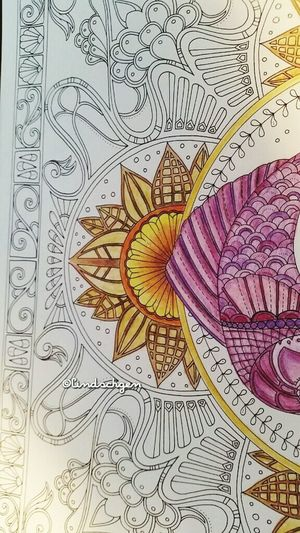 "Johanna Basford "" Lost Ocean "" my first try! Mein erster Versuch. Colorful Coloringbook Coloring Mandalas!  Lost Ocean Selfmade Book Johannabasford Ausmalen Enjoying Life"