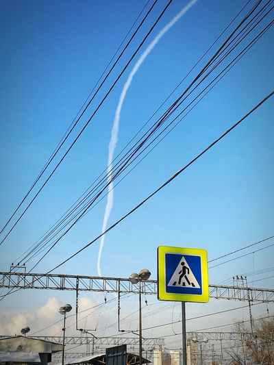 Cityscape City Life Sky Blue Sky Wire Wires Airplane Track