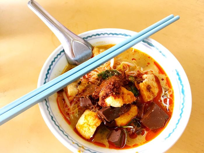 Curry mee penang Yummy Delicious Red Oil Famous Penang Curry Mee Food And Drink High Angle View Food