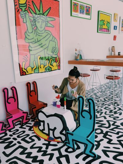 Keith Haring Art Wall Art Wall Colorful Rainbow Color Art And Craft Creativity One Person Casual Clothing Building Exterior Phoyography Photo Photooftheday Museum Exbititon Work Life Vibrant Color Multi Colored Creativity Built Structure Fashion Childhood Full Length Happiness Leisure Activity Lifestyles Human Representation Indoors  Playing Real People Sitting Text Front View Poster Day
