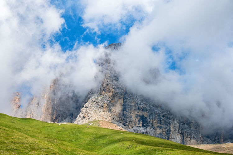 Low clouds at a mountain peak