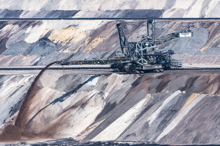 Braunkohle Braunkohletagebau Earth Excavator Coal Mine Coloured Earth Day Garzweiler Industry Mining No People Outdoors Quarry Transportation