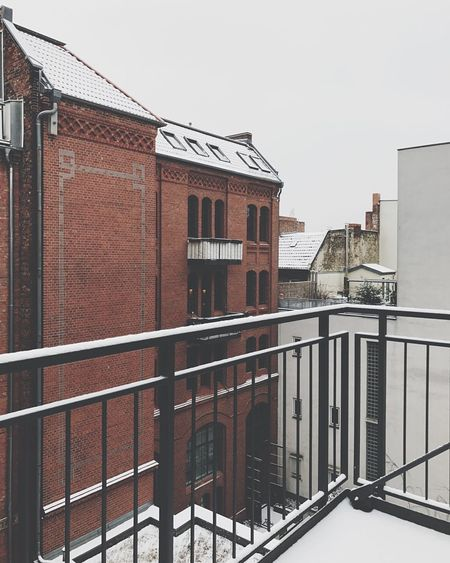 Balcony View Building Building Exterior Architecture Railing Lines Brick Red White Snow Winter Berlin