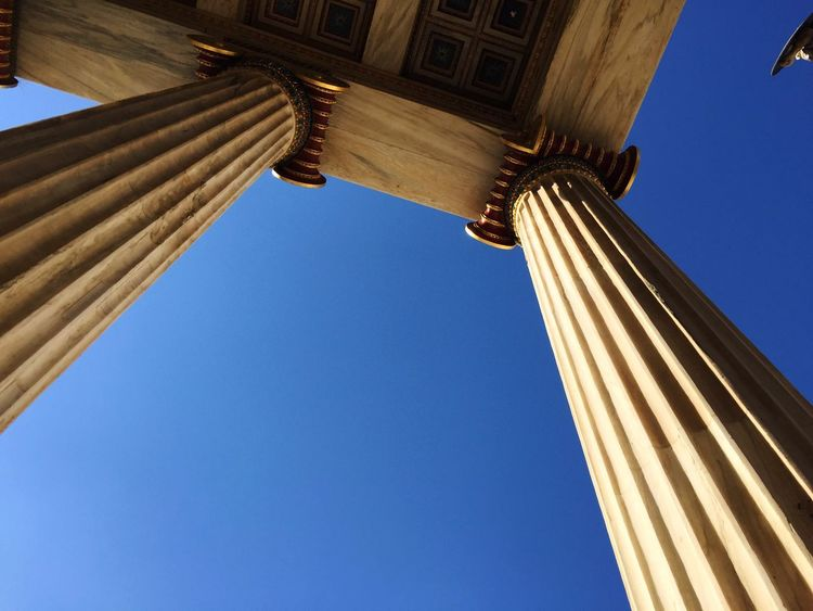 Columns And Pillars Pillars Low Angle View Architecture Greek Athens