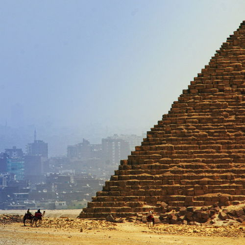 Giza pyramids against clear sky