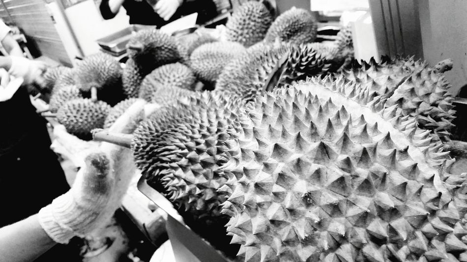 Local Delight King Of Fruits Selectivefocus Durians Singapore Black And White