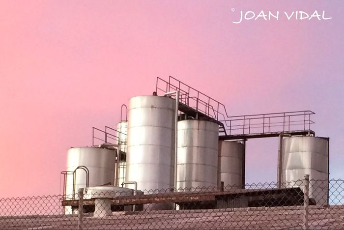 Factory in pink IPhoneography Factory Evening Sky