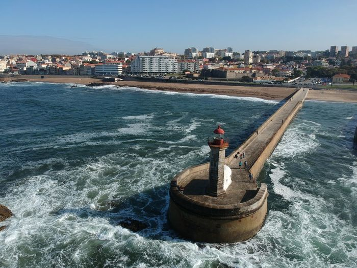 Farol de Felgueiras - Porto, Portugal 2017 Dji Spark DJI X Eyeem Architecture Building Exterior Built Structure City Cityscape Clear Sky Day Drone Photography Dronephotography Nature No People Outdoors Sea Sky Skyscraper Spark Water