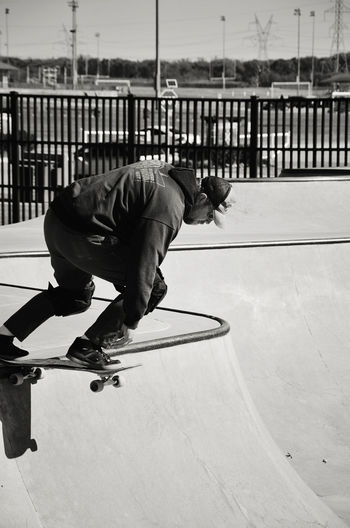 Man skateboarding at skate park