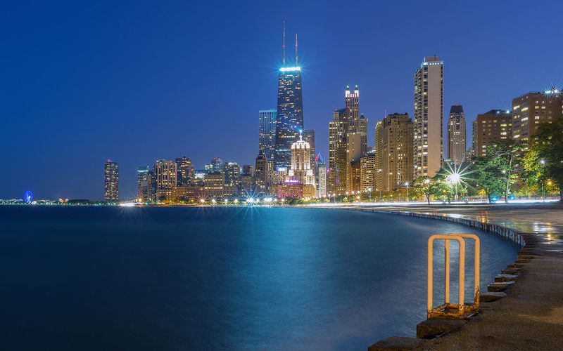 Chicago Skyline Chicago Chicago Skyline Lake Michigan Nightphotography The Drake Hotel United States Architecture Blue Hour Cityscape Building Building Exterior Built Structure City Cityscape John Hancock Tower Night Outdoors Sea Sky Skyscraper Tower Urban Skyline Water
