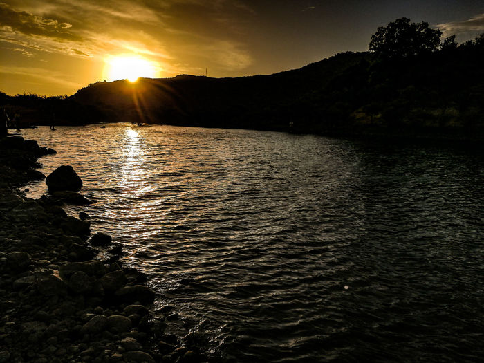 Sun Sunset Reflection Landscape Lake Silhouette Sunlight Nature Water Sky Tree Beauty In Nature Outdoors