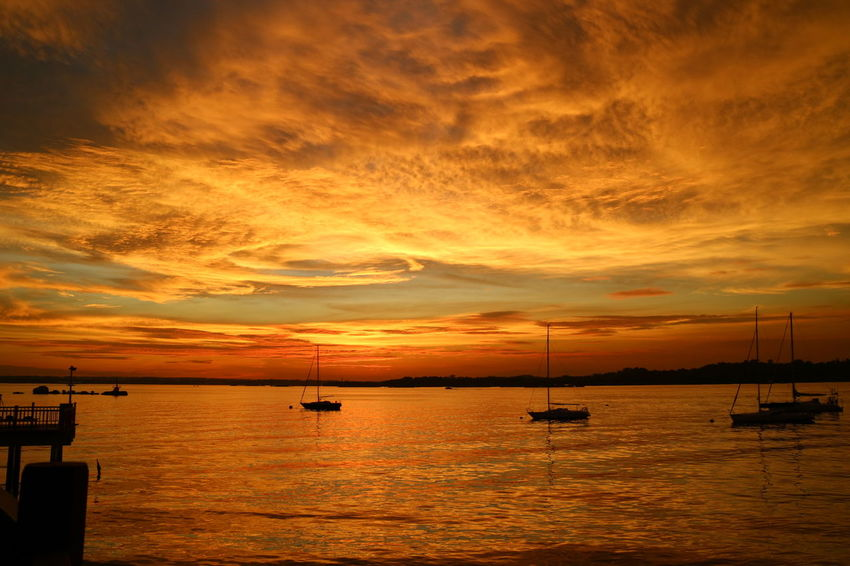 Changi Boardwalk Beauty In Nature Cloud - Sky Horizon Over Water Nature Nautical Vessel Nparks Nparksbuzz Orange Color Scenics Sea Silhouette Sky Sunset Tranquil Scene Tranquility Water Waterfront