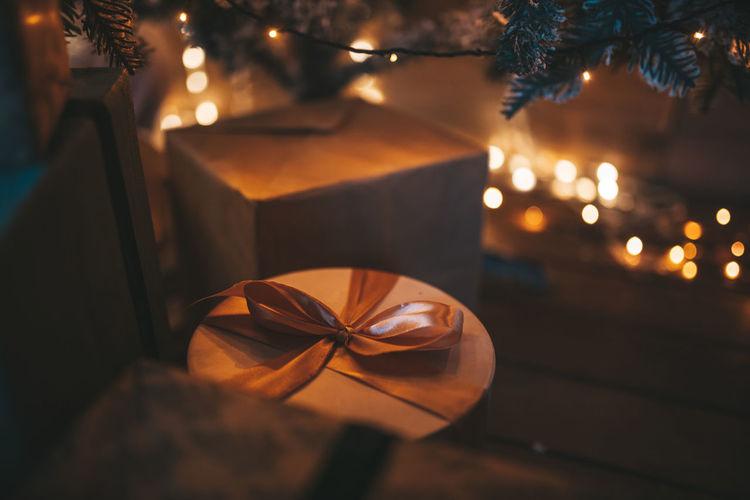 Close-up of illuminated christmas decoration on table