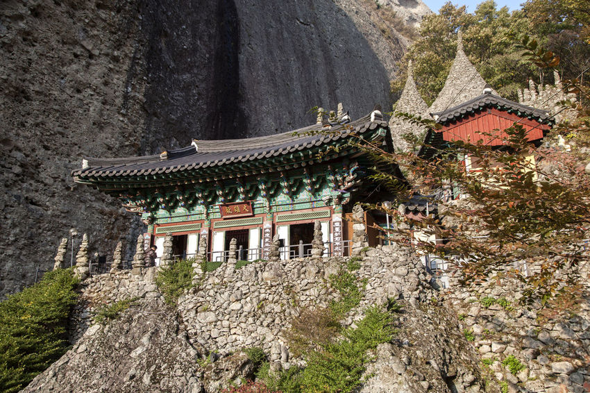 autumn in Maisan Mountain, Muan, Jeonbuk, South Korea Ancient Ancient Civilization Architecture Autumn Buddhism Building Exterior Built Structure Cliff Cultures Day Fall History Low Angle View Maisan Mountain Nature No People Outdoors Place Of Worship Rock - Object Temple Travel Destinations Tree