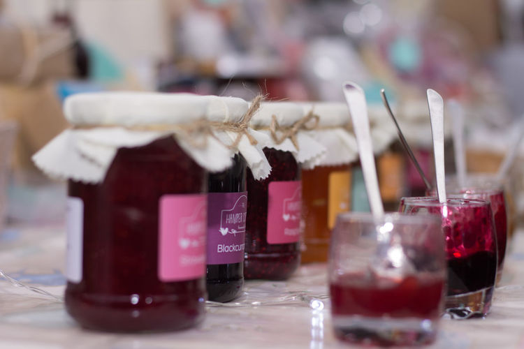 Homemade Jam Food Class Close-up Cloth Lid Day Focus On Foreground Homemade Jam Jar Muslin Natural No People Orgaini Outdoors Spoon Sweet Food Table