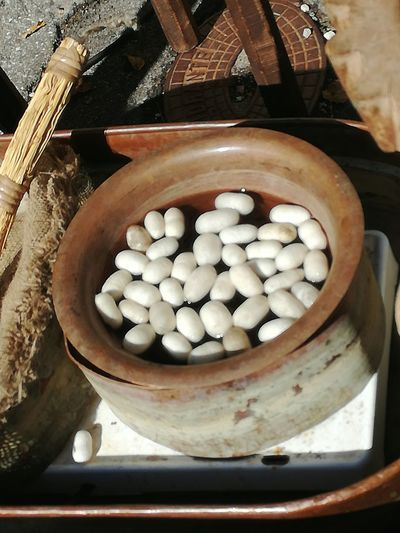 Cocoons Silkworms Art And Craft Craftmanship Floating On Water Handcraft Bowl High Angle View Outdoors No People