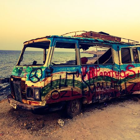 Transportation Clear Sky Sea Land Vehicle Water Outdoors Campervan RUST ART Damaged Mode Of Transport Nautical Vessel Scenics Van Summer Art