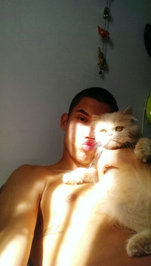 Love❤ Relaxing Kitty!  Puppy Enjoying Life Kiss Goodmorning Mia Big Love