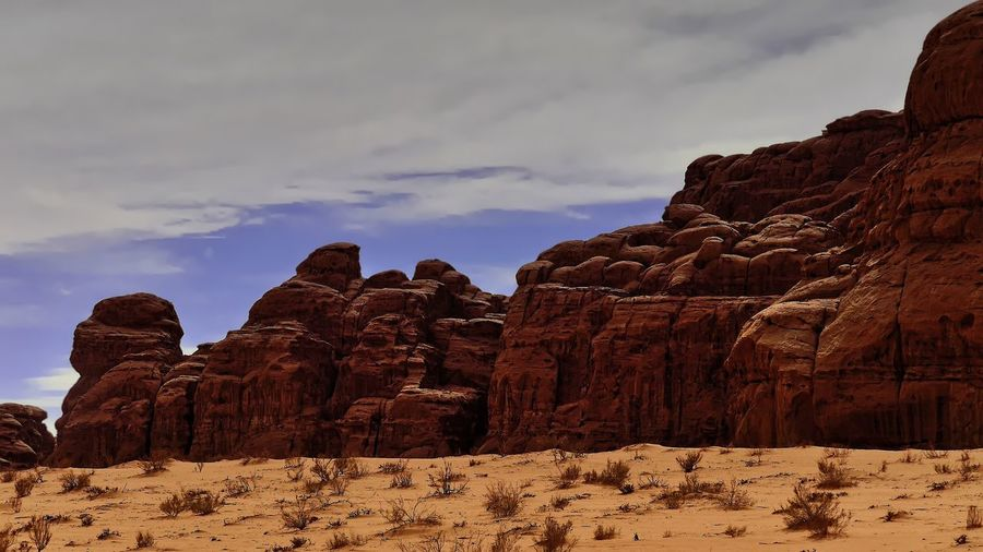Wadi Rum desert 🇯🇴 Arid Climate Beauty In Nature Climate Cloud - Sky Environment Eroded Formation Geology Idyllic Mountain Nature No People Non-urban Scene Outdoors Physical Geography Rock Rock - Object Rock Formation Scenics - Nature Sky Solid Tranquil Scene Tranquility Travel Travel Destinations
