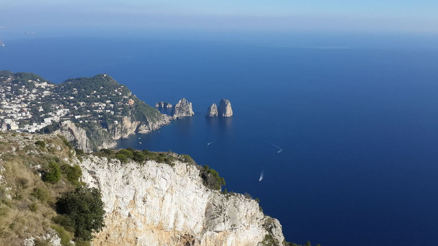 High Angle View Of Mountains And Sea At Capri