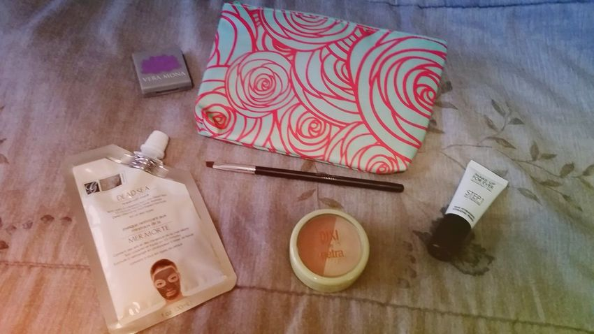 """My first glambag! I got Vero Mona eyeshadow in """"Clover"""", Beau Gachis Eyebrow brush, Pixi by Petra beauty duo blush in """"Rose Gold"""", Global Beauty Care Dead Sea Mask, and Makeup Forever's Skin Equalizer. I am so happy with everything that I got and excited to use them! 😍🙊💚💛💜👍 Ipsy Glam Bag Ipsy"""