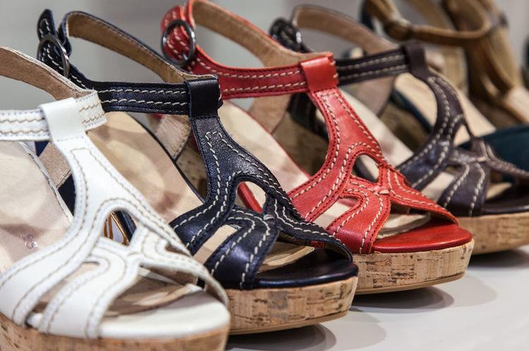 Summer women sandals. Fashion Feminine  Leather Sandals Stylish Colorful Footwear Pair Seasonal Sell Shoe Shop Still Life Store Summer