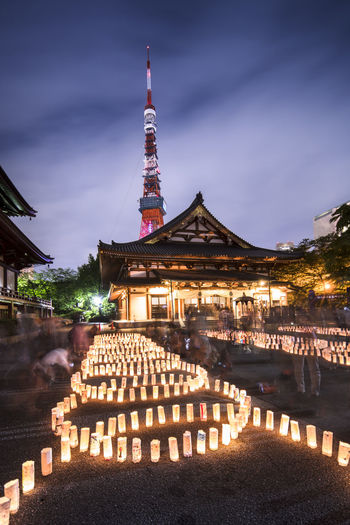 Handmade japanese washi paper lanterns aligned in circles illuminating the zojoji temple.
