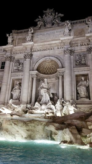 Trevi Fountain Fontana Di Trevi Roma Rome Italy Italia Water Architecture Architectural Column Statue Travel Destinations Sculpture History Tourism Built Structure Day Outdoors No People Night Illuminated Night In Rome Your Ticket To Europe