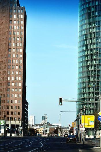 City street against clear blue sky