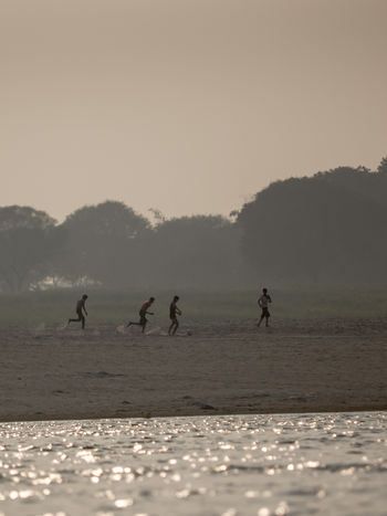 Day Fog Fussball Ganga Ganges India Lake Landscape Nature Outdoors People River Riverside Scenics Silhouette Sky Soccer Sport Sports Tree Water