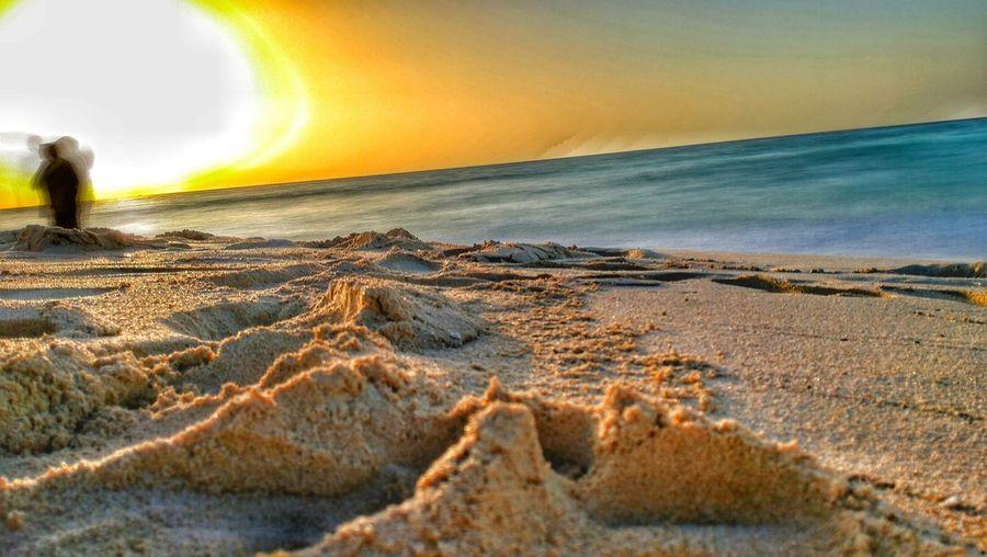 Sunset Beach Sand Horizon Over Water