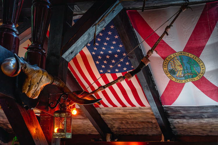 Low angle view of flags hanging