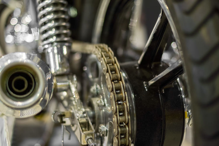 Close-Up Of Chain On Motorcycle